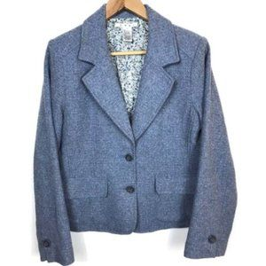 CAbi Blue Buttoned Down Vintage Tweed Style Blazer